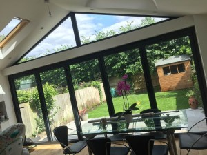 Bi-folding doors with a gable fixed window