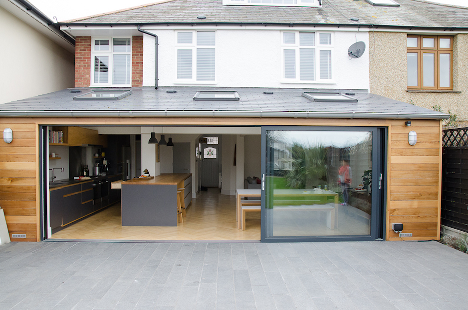 Smart visoglide grey aluminium sliding doors installed dwl for Sliding glass doors kitchen