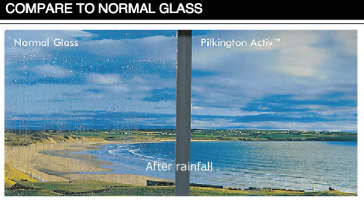 Comparison of normal glass versus self cleaning glass